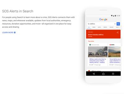 Google lancia Sos Alerts, consigli nelle situazioni di pericolo