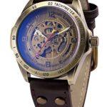 AMPM24– Orologio sportivo con cinturino in pelle, automatico, meccanico, in confezione regalo, colore: marrone