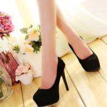 INCEPTION PRO INFINITE ® – Scarpe Da Donna Decolte Alte Classiche Finto Scamosciato Colore Nero XHY-121