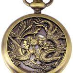 AMPM24 WPK230-Orologio da unisex, Cassa Scheletro Drago Fenice, Meccanico Manuale Analogico,+ Catenella,colore: Bronzo