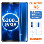 6″ Oukitel K6 4G LTE Smartphone 6GB 64GB Android 7.1 Octa Core Face ID 6300mAh
