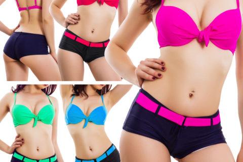 Bikini donna costume da bagno mare piscina shorts bicolore taglie curvy QD202 – Offerte di Oggi