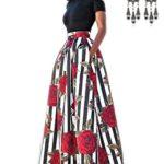 carinacoco Donna Vestiti Lunghi Due Pezzi Senza Spalline Manica Corta Camicetta + Rosa Stampa Gonne Lungo Elegante Vestito Abito Maxi da Sera