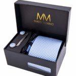 Massi Morino ® Set Cravatta + Gemelli + Fazzoletto + Fermacravatta – Cucita a Mano in MicroFibra
