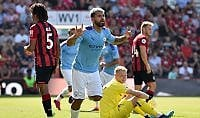 Inghilterra, il Manchester City risponde al Liverpool:: Aguero piega il Bournemouth