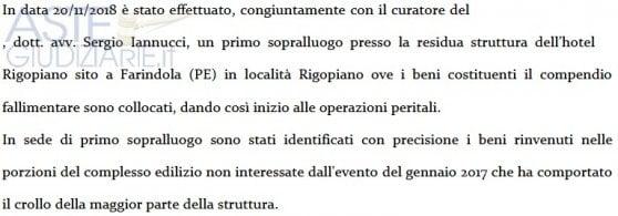 """Rigopiano, all'asta i beni dell'hotel salvati dalla valanga. I parenti delle vittime: """"Macabro brindisi"""""""